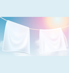 Bright white clothes hanging out dried on a rope vector