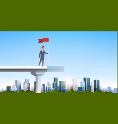 Businessman holding red flag standing edge vector