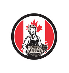 canadian female organic farmer canada flag icon vector image