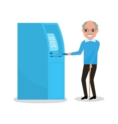 Cartoon grandfather got plastic credit card vector