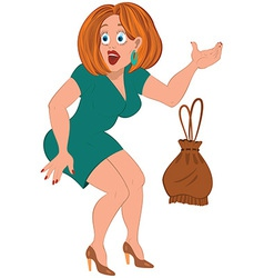 Cartoon woman in green dress and brown bag vector image