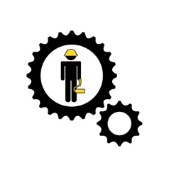 character man construction roller icon vector image