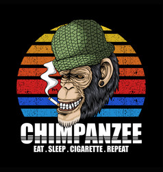 chimpanzee smoke retro vector image