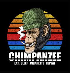 Chimpanzee smoke retro vector