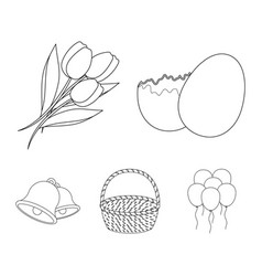 chocolate egg bells basket and flowerseaster vector image