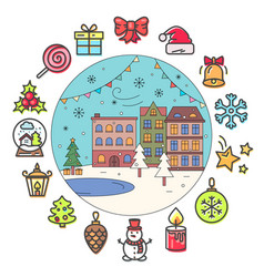 christmas icons and winter street with buildings vector image