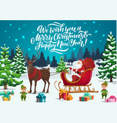 christmas sleigh with santa elves and xmas gifts vector image