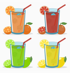 citrus juice - orange grapefruit lime lemon vector image