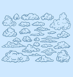 clouds sketch decorative sky elements weather vector image