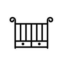 Crib thin line icon outline symbol baby cot for vector