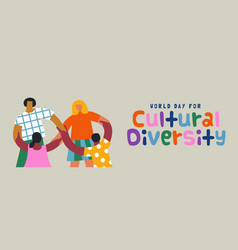 cultural diversity friend group together banner vector image
