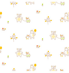 cute bear and duck friends seamless pattern vector image