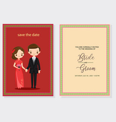 Cute chinese couple in wedding invitations card vector
