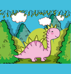 Cute saltasaurus cute prehistoric dino with bushes vector