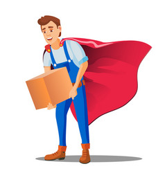 delivery service man in superhero uniform with vector image