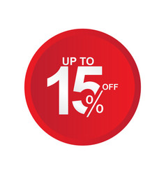 Discount label up to 15 off template design vector