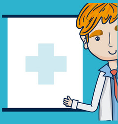 Doctor cartoon with blank frame vector