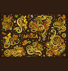 Doodle cartoon set of africa designs vector