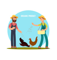 Farmers feed animals vector