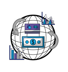 financial and economy set icons vector image