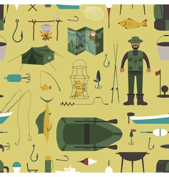 Fishing seamless pattern Fishing design elements vector image