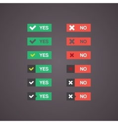 Flat buttons yes and no in different styles vector