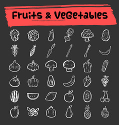 Fruit and vegetable doodle icon set vector