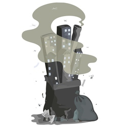 garbage city vector image