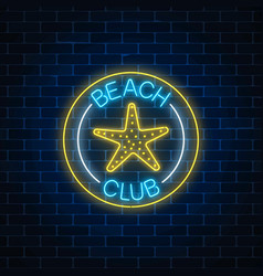 glowing neon sign of recreation beach club with vector image