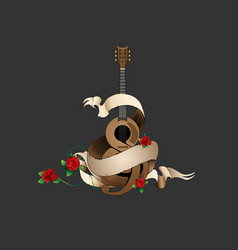 guitar and roses vector image