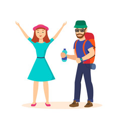 Guy and girl in a family traveling on new place vector