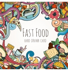 Hand drawn background of fast food elements vector