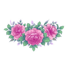 Hand drawn floral arrangement with roses and vector