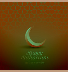 Happy muharram islamic background with crescent vector