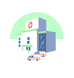 hospital building and ambulance cars icon medical vector image