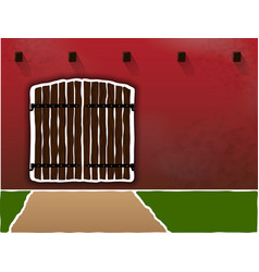 Huge and old wooden gates on a dirty burgundy wall vector