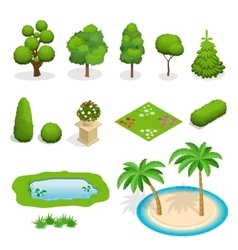 Isometric flat trees elements for landscape vector image
