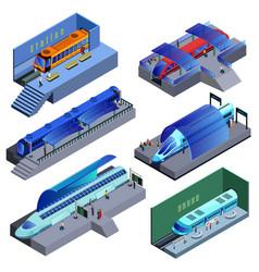 Isometric modern railway transport set vector