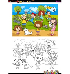 kids and cats coloring book vector image