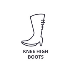 knee high boots line icon outline sign linear vector image