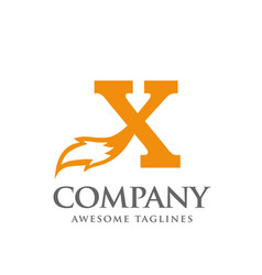 letter x with fox tail logo design vector image