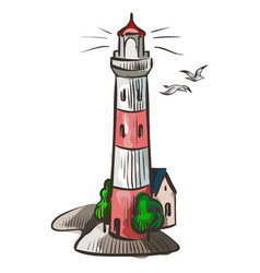 lighthouse sea light white watercolor symbol vector image