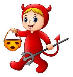 Little girl in halloween red devil costume vector
