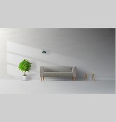 Livingroom interior clean wall with grey sofa vector