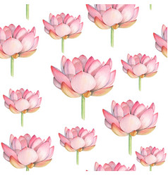 Lotus watercolor seamless pattern vector