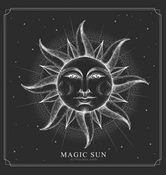 Magic witchcraft card with astrology sun sign vector