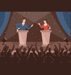 male and female politicians taking part in vector image