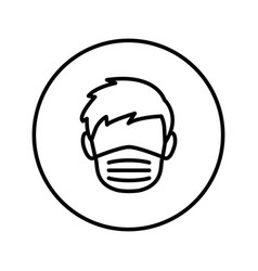 man face in a medical mask universal icon vector image