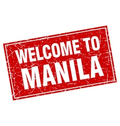 Manila red square grunge welcome to stamp vector
