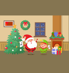 merry christmas celebration of elf and santa claus vector image